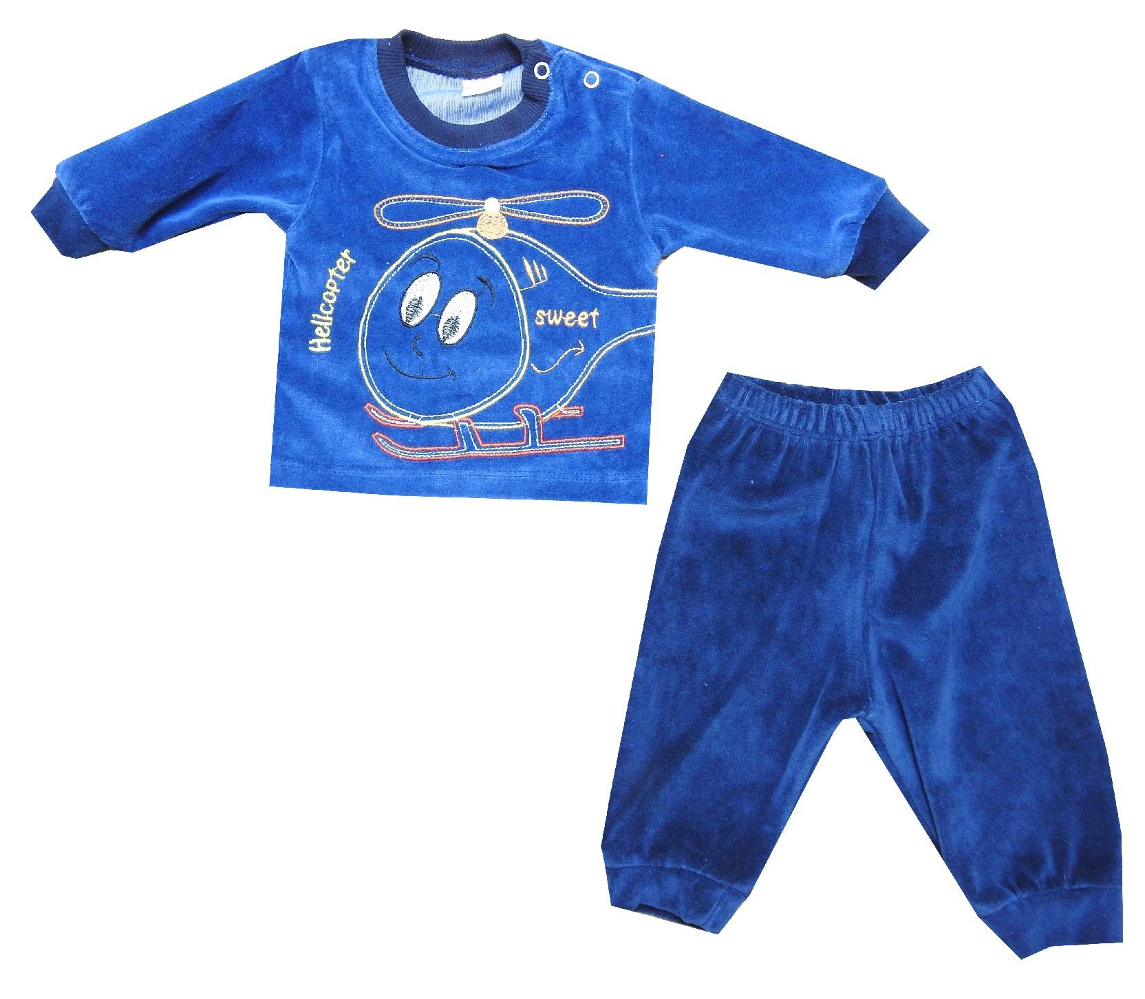 Wholesale helicopter print velvet tracksuit for boy (3-6-9-12 month)