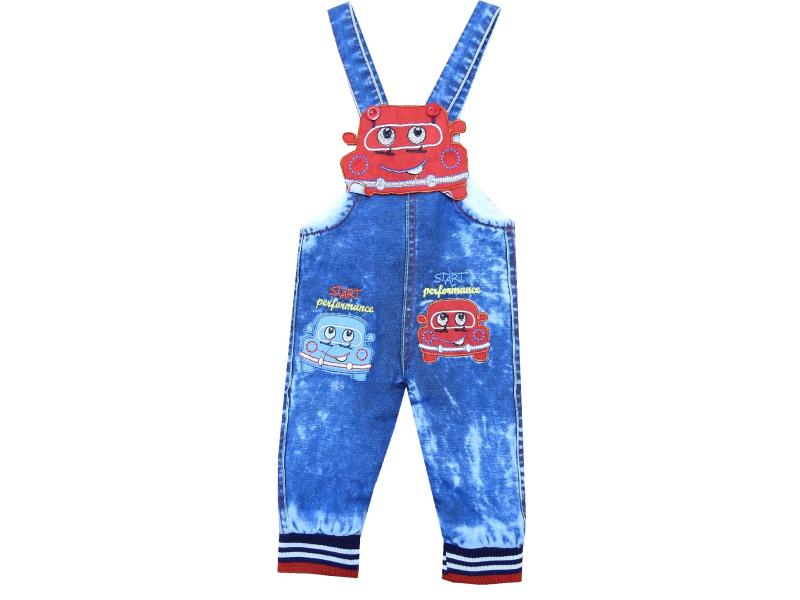 21356 wholesale car print jeans overall for kids (1-2-3-4 age)
