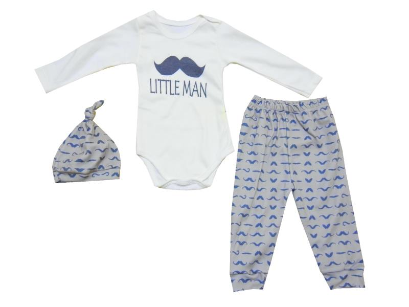 293 triple baby suit little man print 0-3-6-9 MONTH