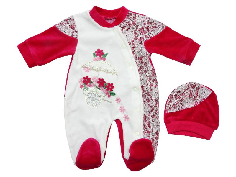 1542 wholesale velvet printed rompers for baby (3-6-9 month)
