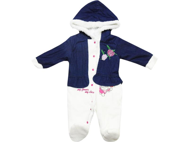 508 wholesale flower printed jeans decorative bolero romper for baby girl (3-6-9 month)