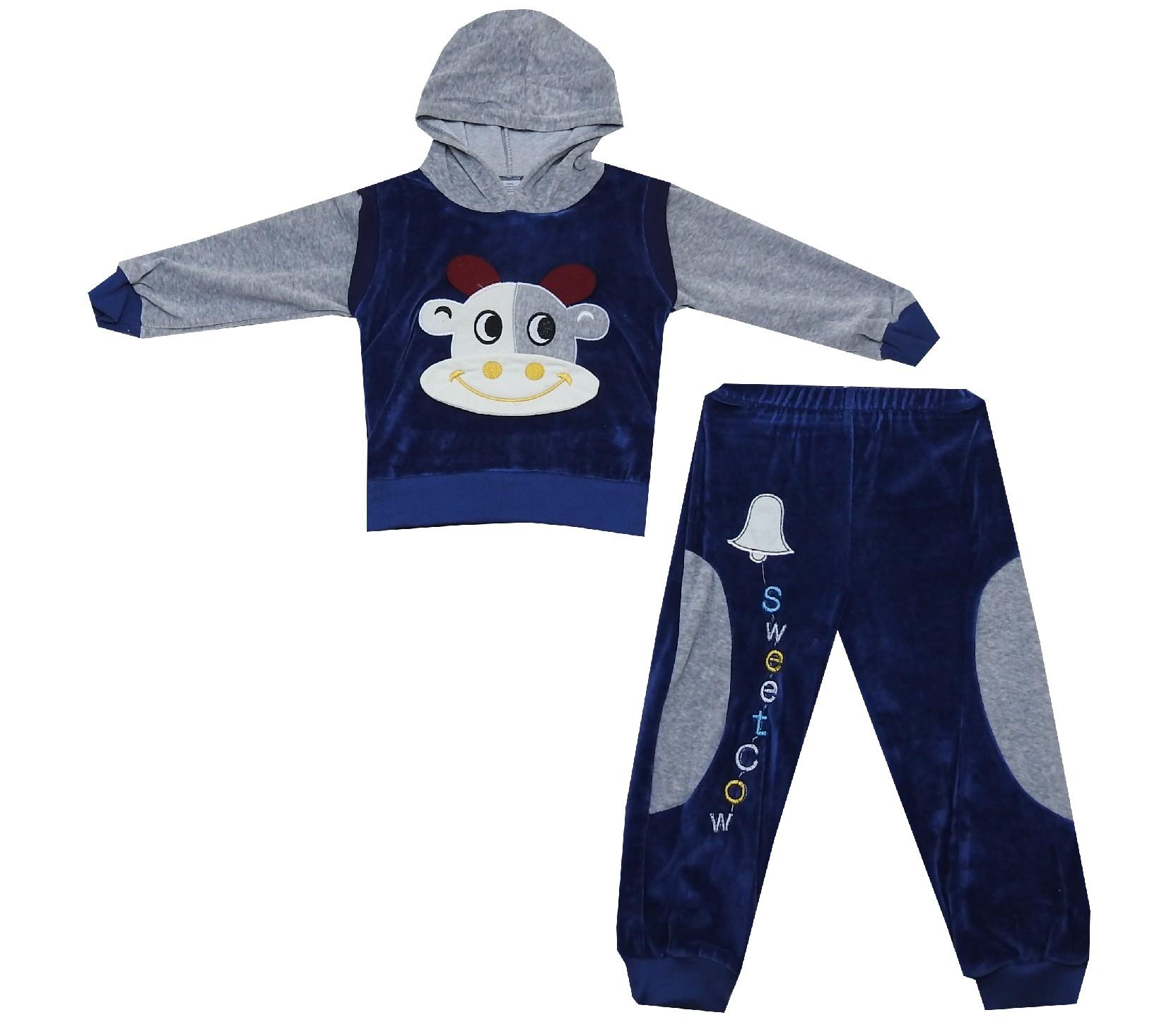 1540 wholesale sweet cow print velvet hooded tracksuit for kids (2-3-4 age)