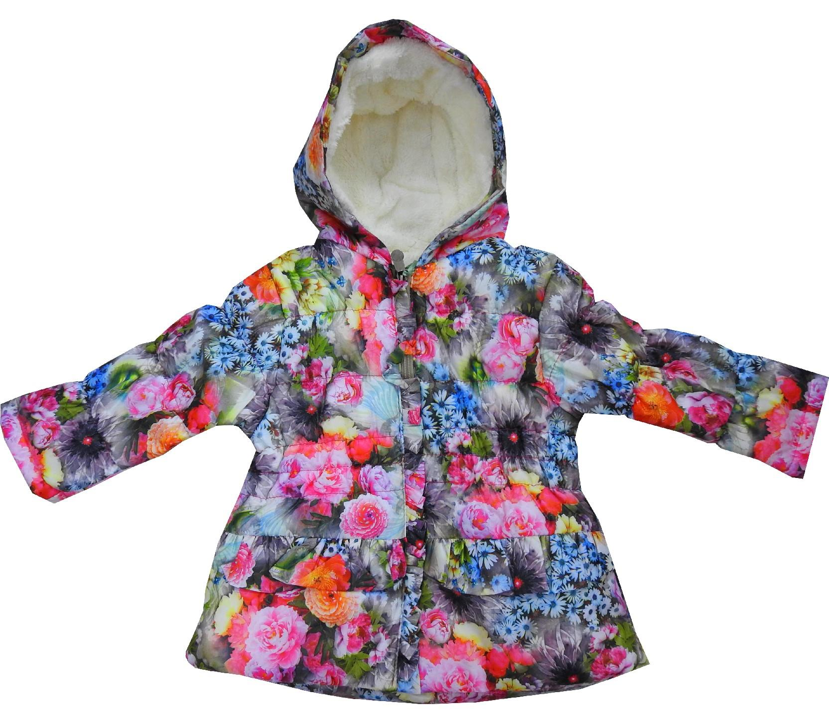 Wholesale flower embroidery hooded faux shearling coat for girl (9-12-18-24 month)