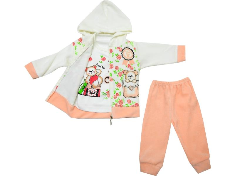 Wholesale bear print sweatshirt, t-shirt and trouser triple set for baby girl (6-9-12 month)