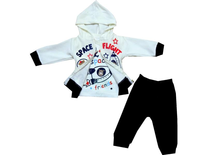1769 wholesale space flight print hooded velvet sweatshirt, t-shirt and trouser set for boy (6-9-12 month)