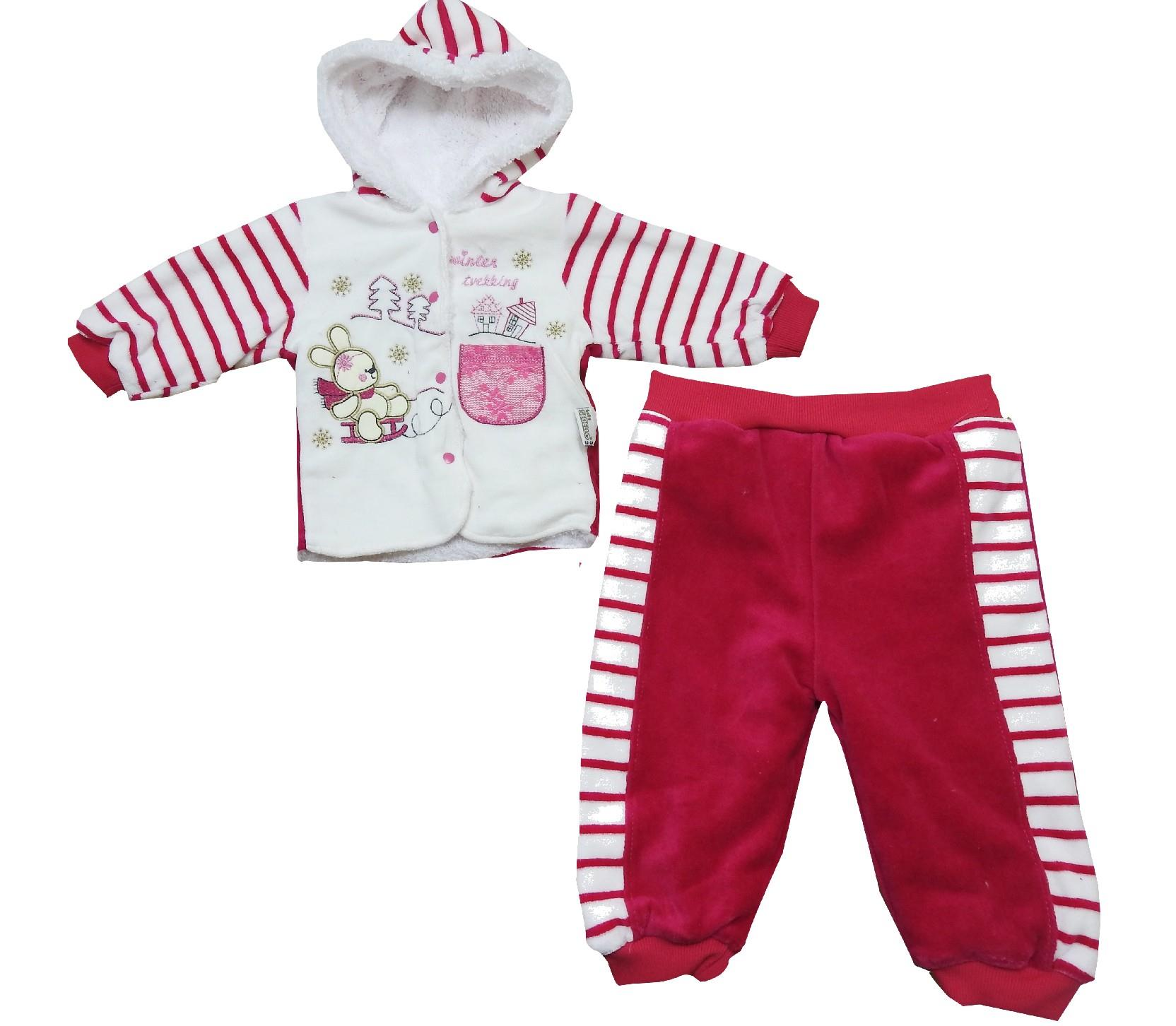 20002 Wholesale rabbit printed faux shearlinf striped design jacket and trouser set for kids (6-12-18 month)