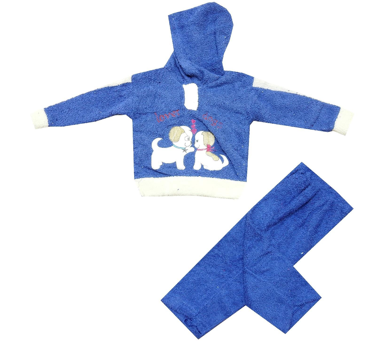 98541 wholesale faux shearling hooded printed jacket and trouser set for kids (3-6 month)