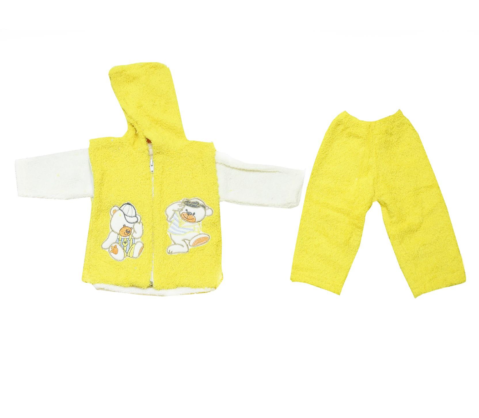 Wholesale faux shearling hooded vest t-shirt and trouser suit set for baby (3-6 month)