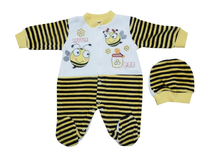650 wholesale velvet bee printed beanie for baby (0-3-6 month)