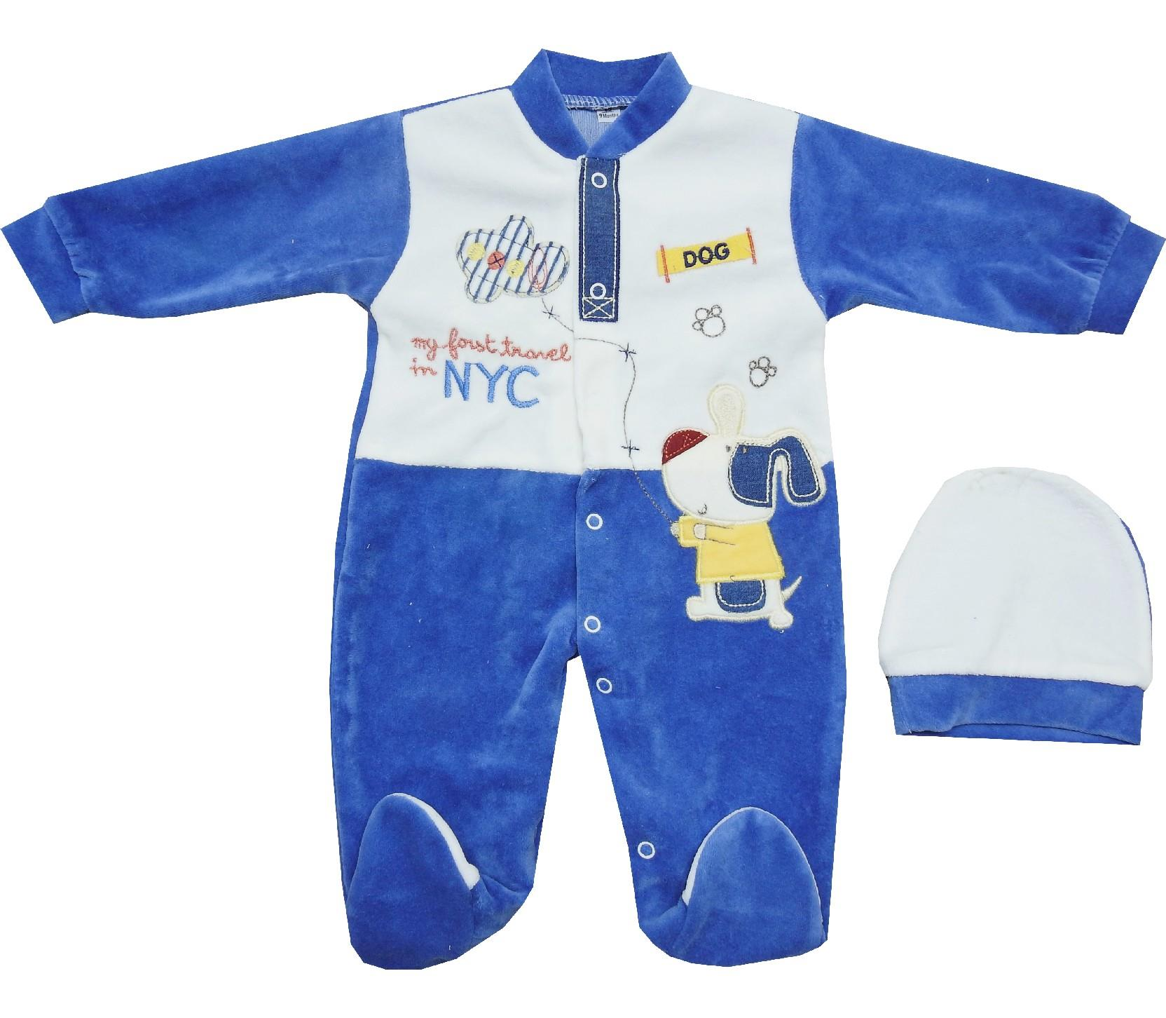 696 Wholesale NYC printed velvet romper for baby (0-3-6 month)
