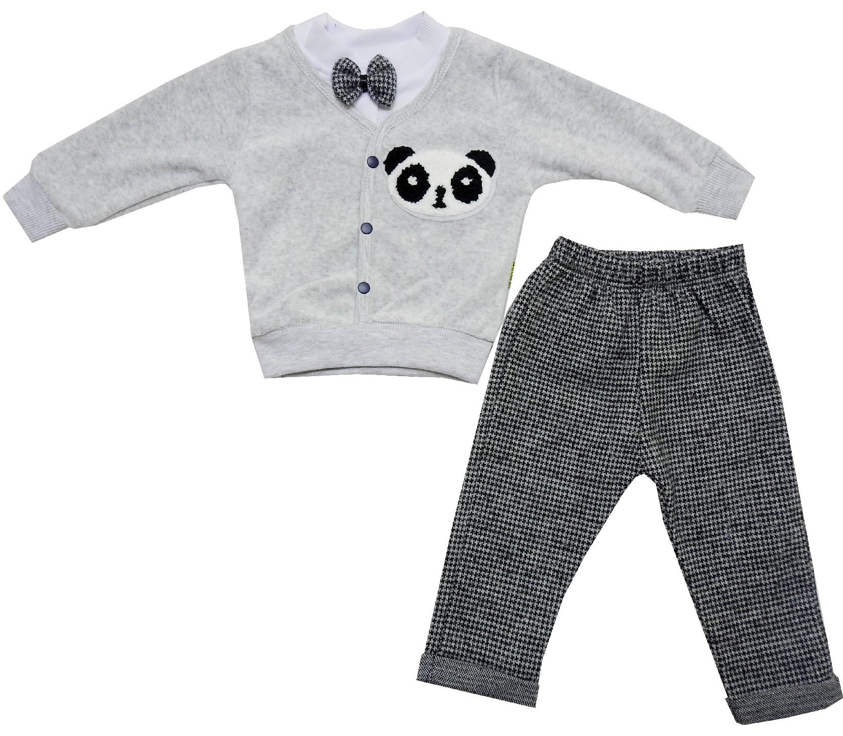5094 wholesale panda face print sweat with trouser for kids (6-12-18-24 month)