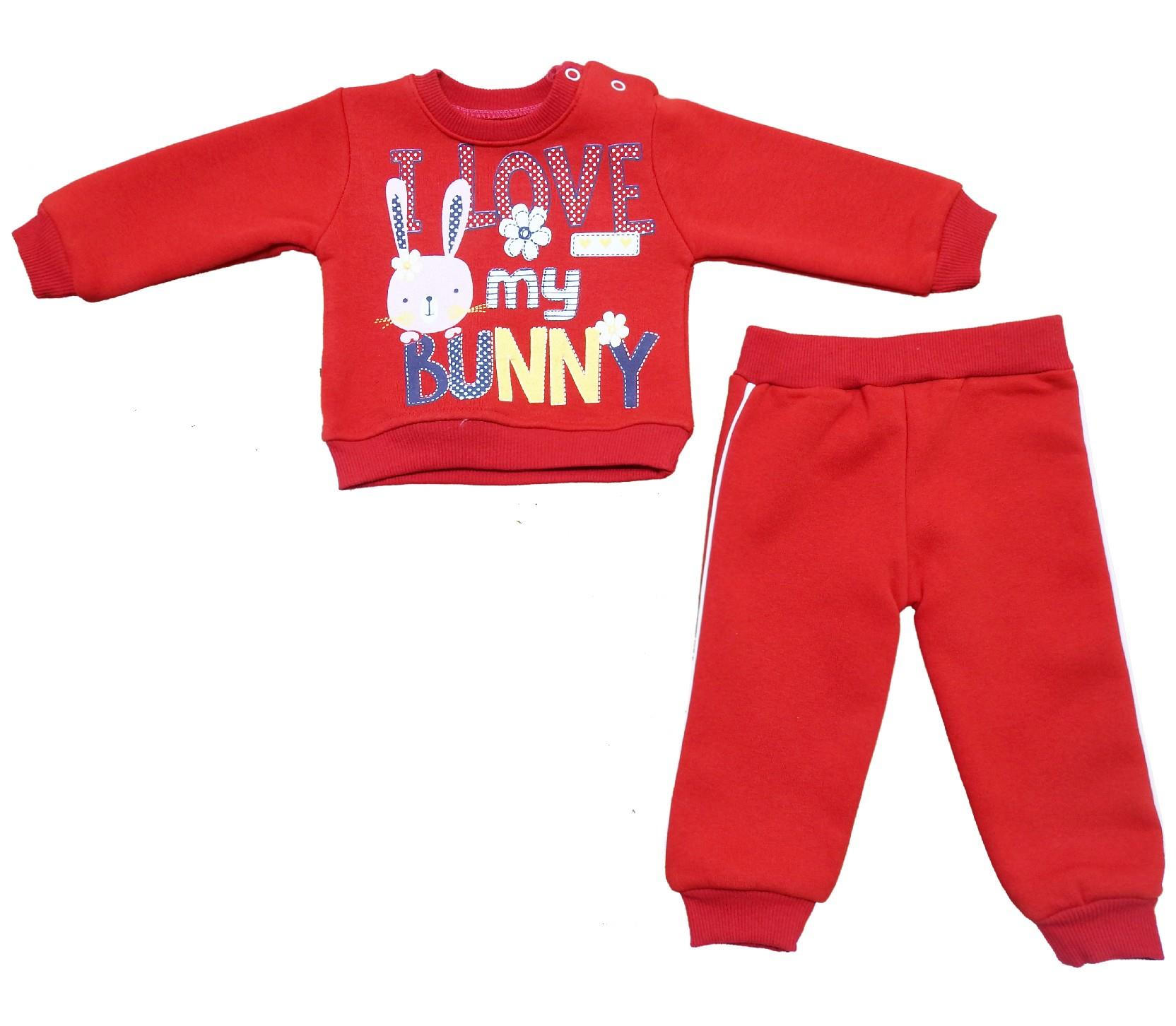 Wholesale ''bunny'' print tracksuit for girl (3-6-9-12 month)