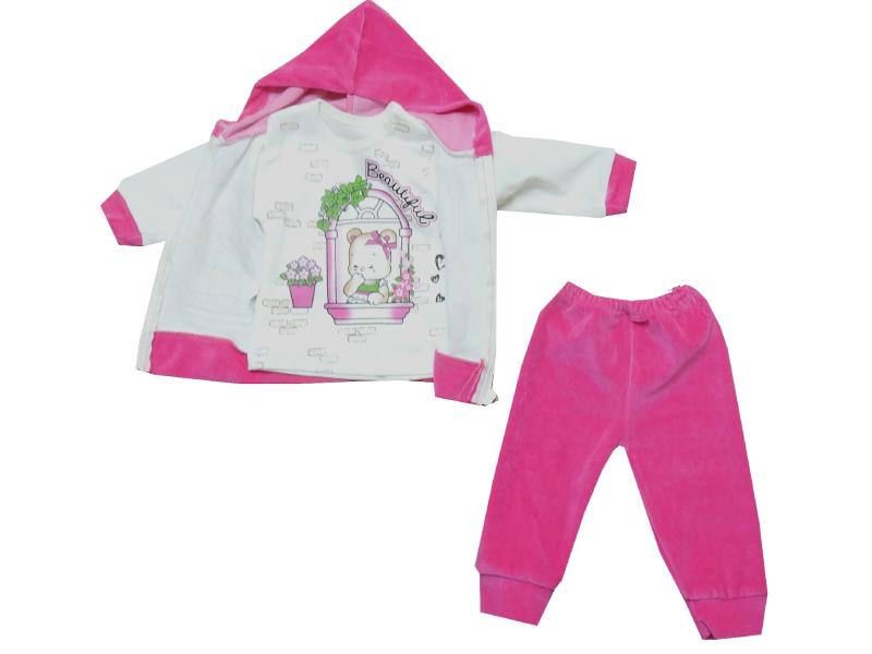 1776 Wholesale Love printed hooded velvet sweatshirt with trouser and t-shirt for girl (6-9-12 month)
