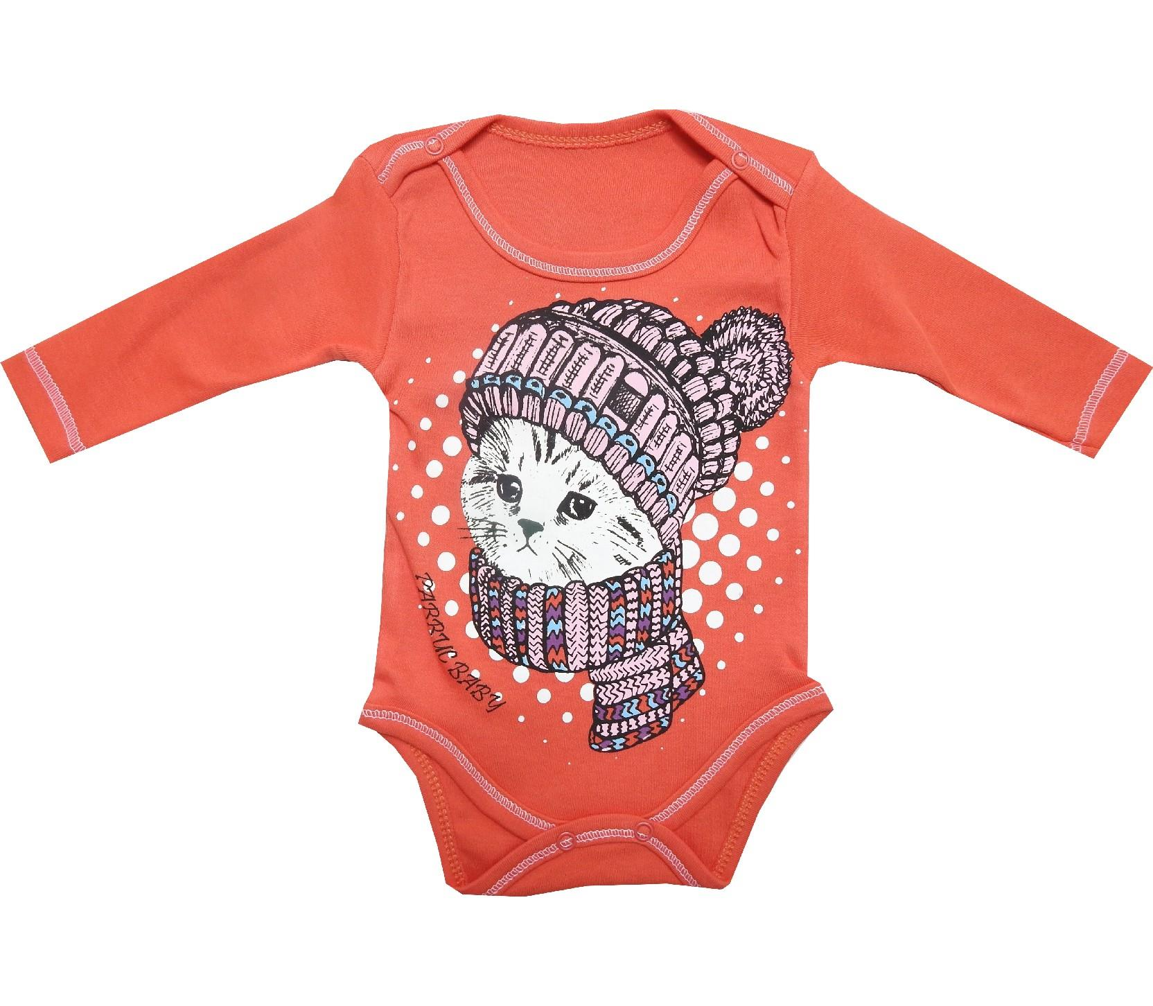 4613 wholesale snap fastening cat printed bodysuit for baby (3-6-9-12 month)