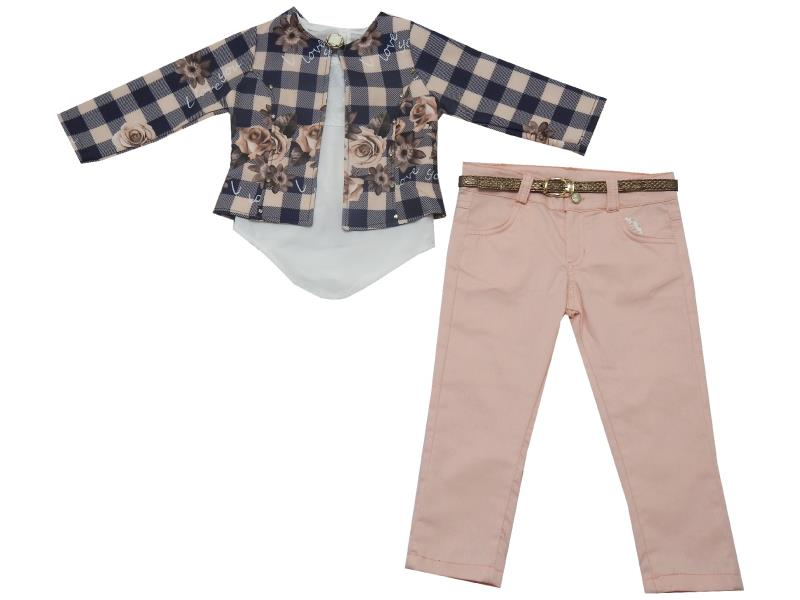 805 Wholesale chequered flower embroidery jacket, t-shirt and pant suit set for girl (2-3-4-5 age)