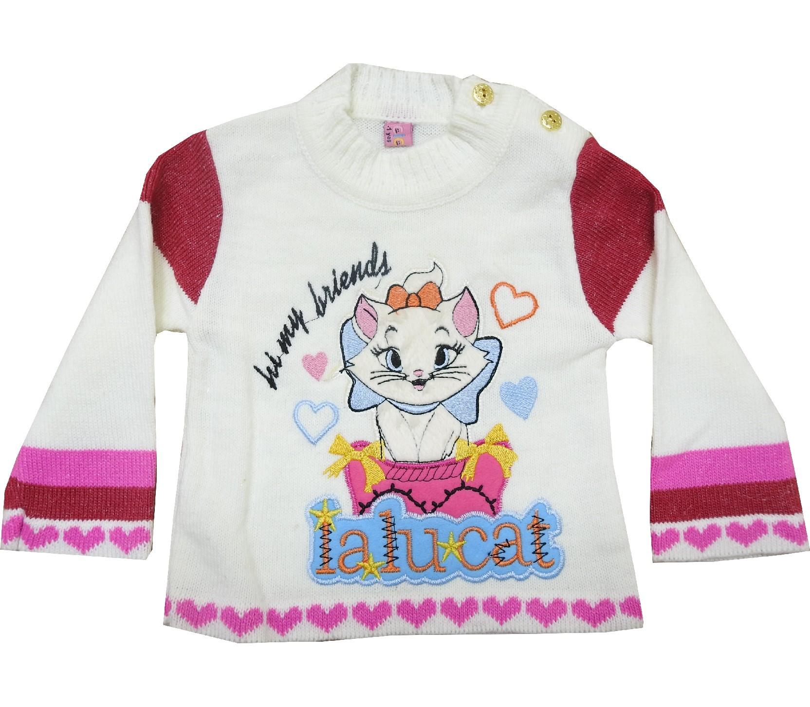 1239 Wholesale cat print sweater for girl (1-2-3-4 age)