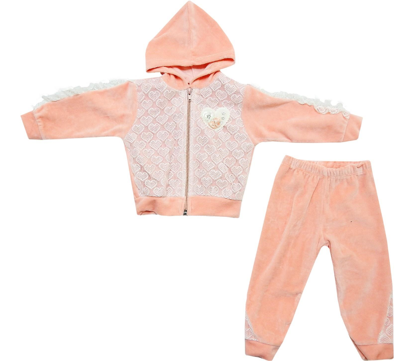 275 wholesale velvet lace fabric embroidery sweatshirt and trouser set for baby girl (6-9 month)