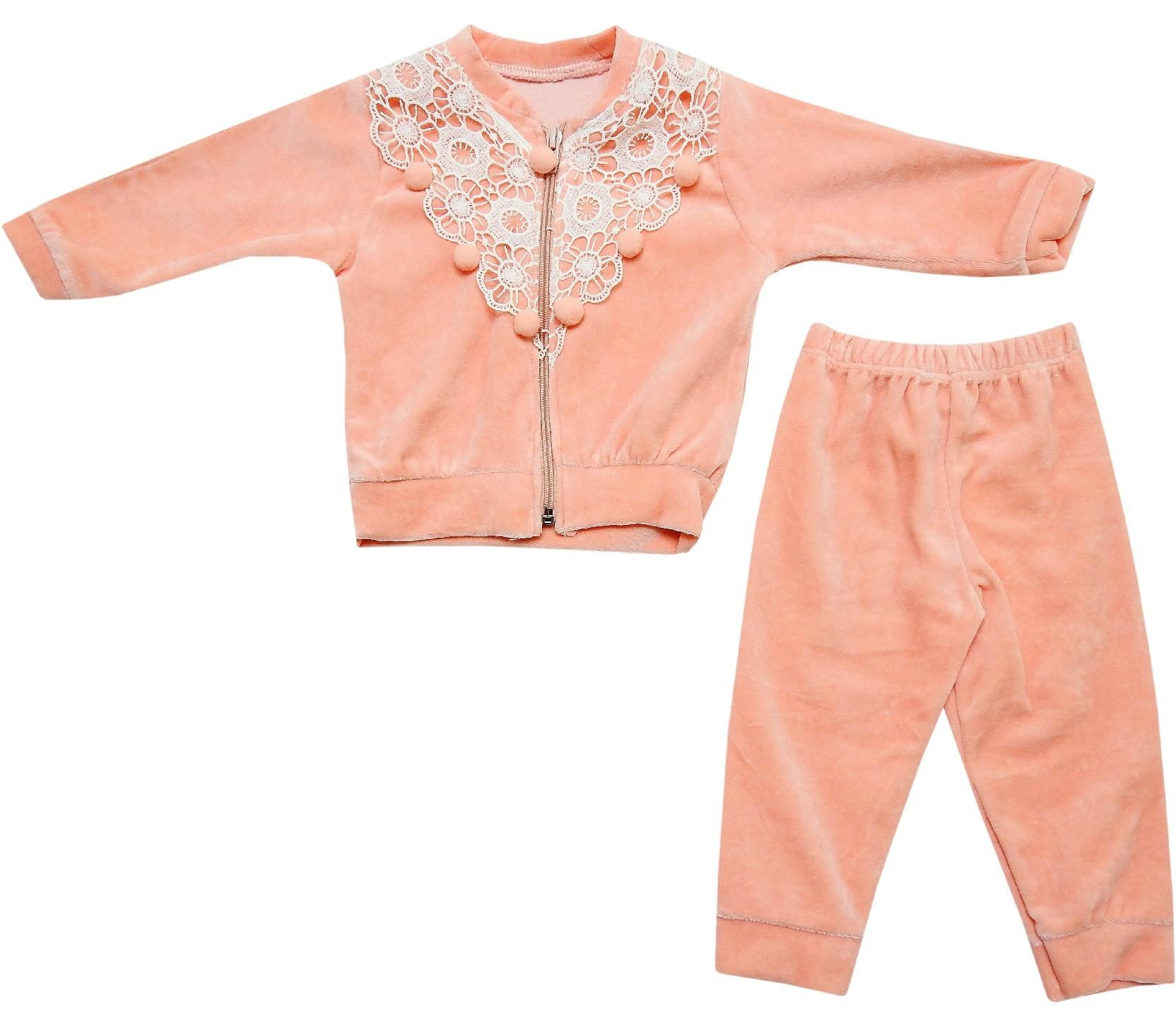 268 wholesale lace fabric embroidery velvet cardigan with trouser for baby (6-9 month)