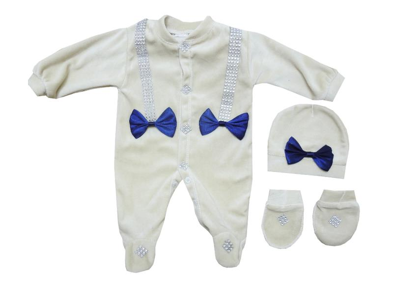 954 Wholesale velvet bow applique romper for baby (3-6-9 month)