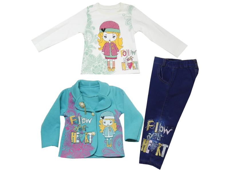 12 Wholesale jacket with t-shirt and trouser suit set for girl (1-2-3-4 age)