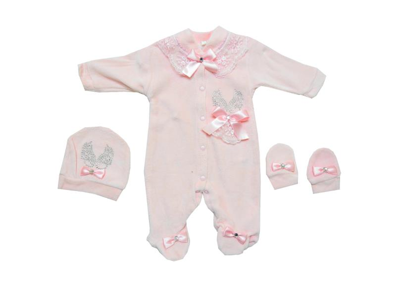 29015 Wholesale lux velvet decoative rock bow applique overall with beanie and gloves for baby (62 cm)