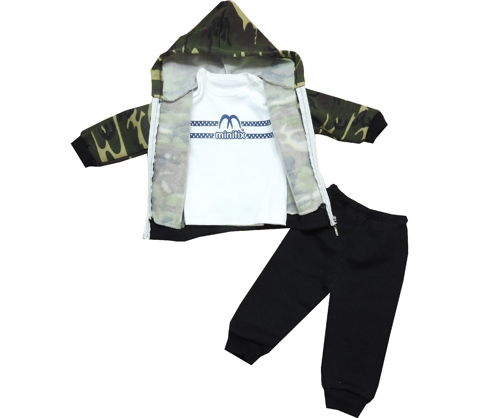 1773 Wholesale 63 printed camouflage hooded three-ply sweatshirt & t-shirt & trouser set suit for boy (6-9-12 month)