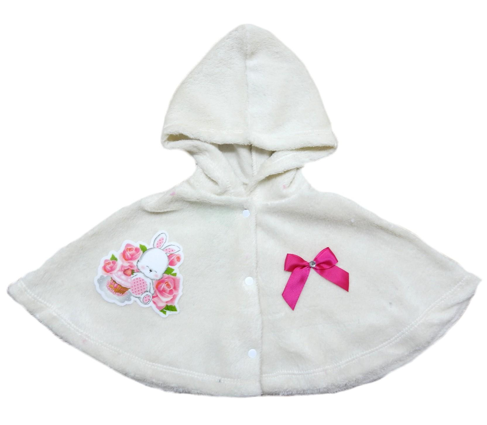 213 Wholesale rabbit printed hooded faux shearling poncho for girl (3-6-9 month)