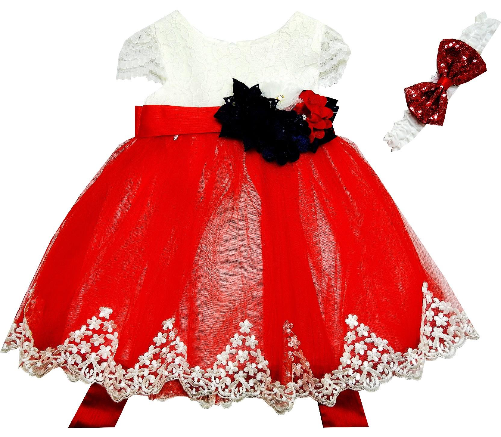 040 Wholesale lace fabric tulle dress with headband for girl (1-2-3-4 age)