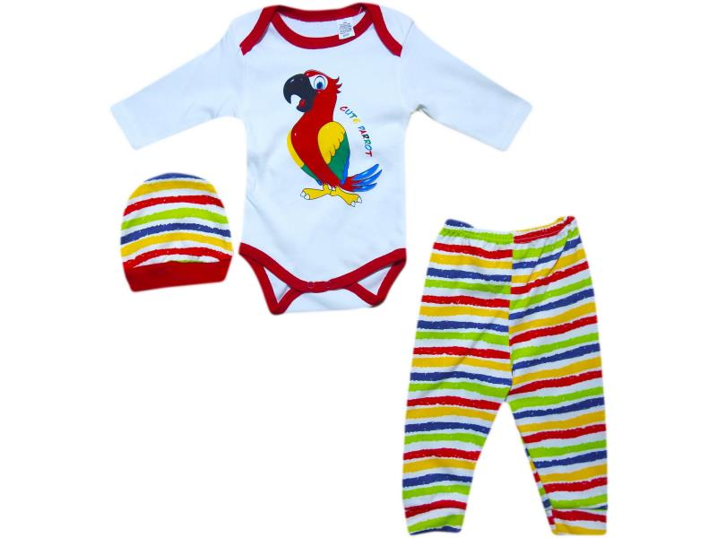 "535 wholesale set for newborn, bodysuits ""Parrot"" + Romper + hat, 6-9-12 months"