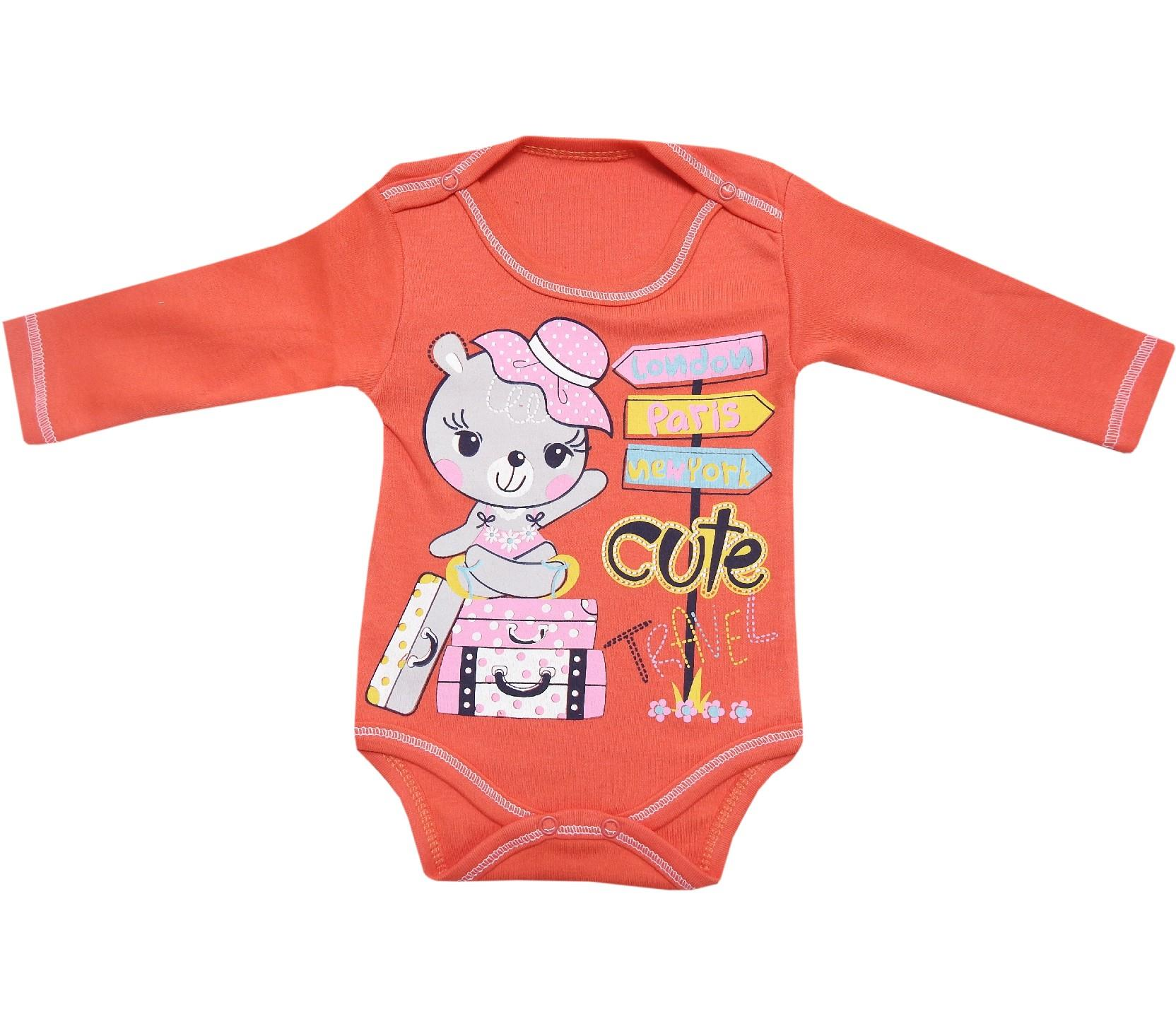4706 Wholesale bear printed snap fastening bodysuit for babies (3-6-9-12 month)
