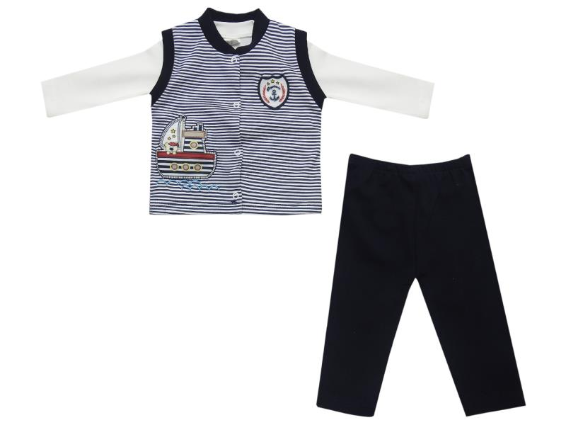 109 Wholesale striped design vest, t-shirt and trouser triple set for baby (6-9-12 month)