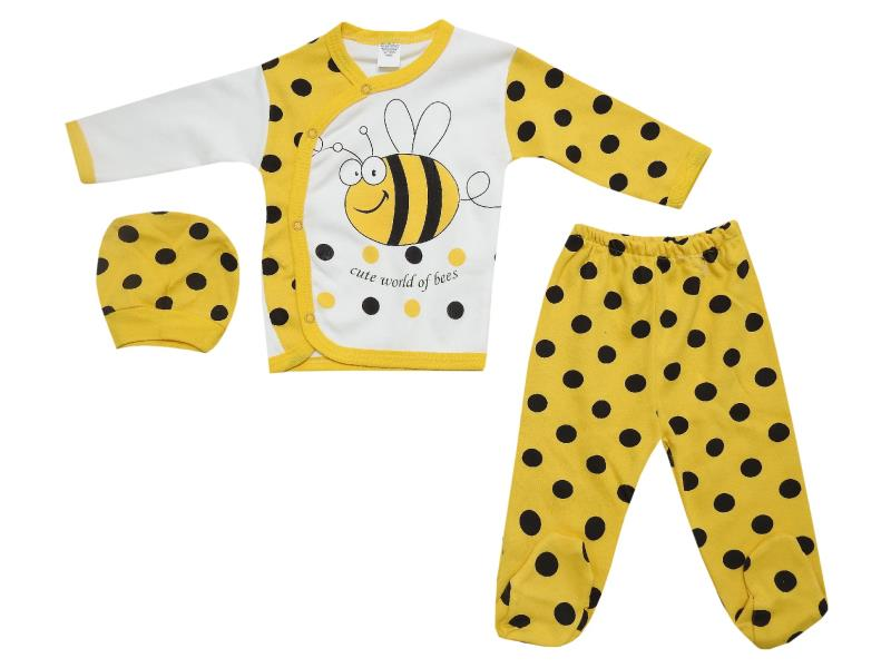 525 Wholesale spotty patterned top with trouser and beanie set for baby clothes (6-9-12 month)