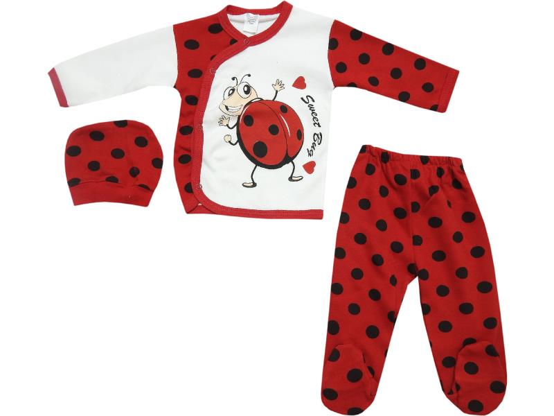 526 Wholesale bug printed spotty top with trouser and beanie set for baby clothes (6-9-12 month)