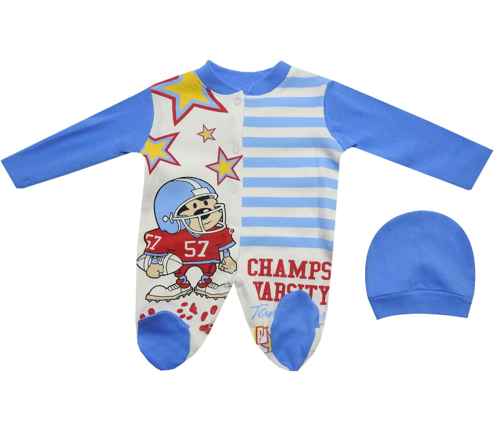 1606 wholesale baseball player printed overall with beanie for baby (3-6-9 month)