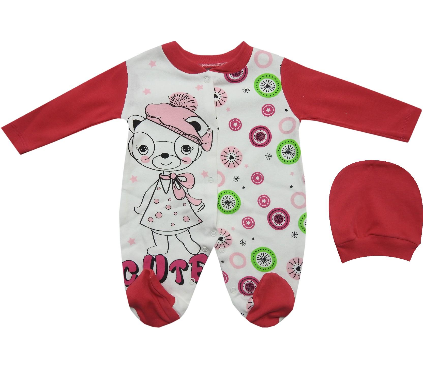 1607 wholesale cat printed embroidery romper with beanie for baby (3-6-9 month)