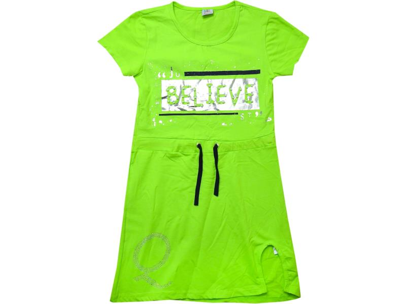 99347 Wholesale believe printed tunic with belt for girl children clothes (9-10-11-12 age)