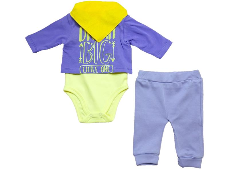 1737 Wholesale printed design bodysuit with fular for baby (3-6-9 month)