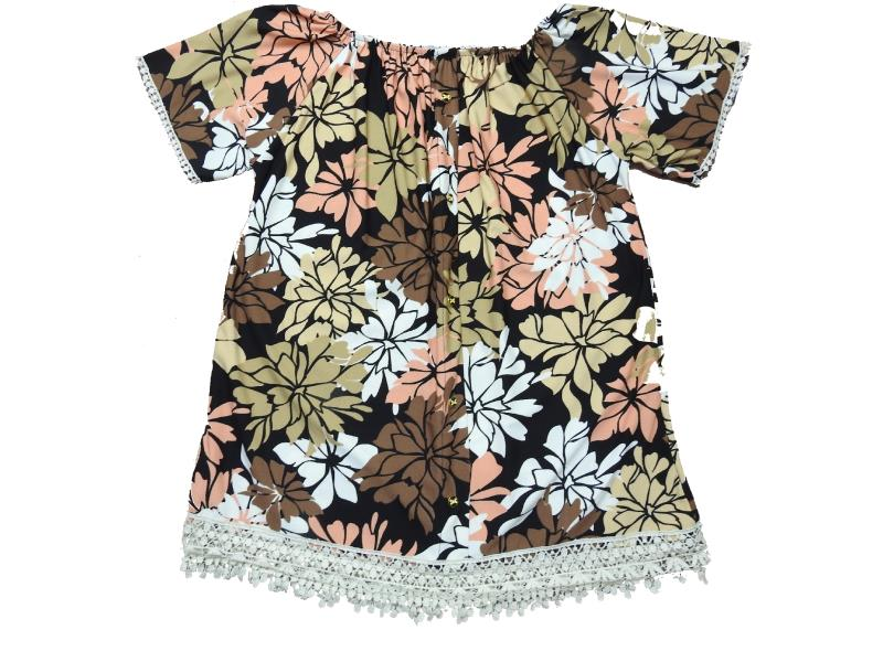 2085 Wholesale lace fabic design flower patterned dress for girl kids clothes (10-12-14-16 age)