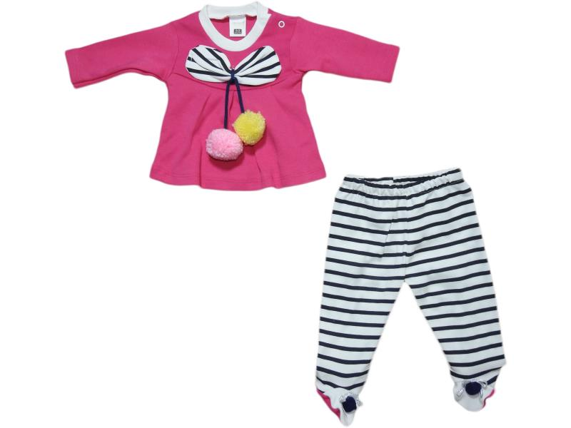 1022 Wholesale striped design top and trouser set for girl baby clothes (3-6-9 month)