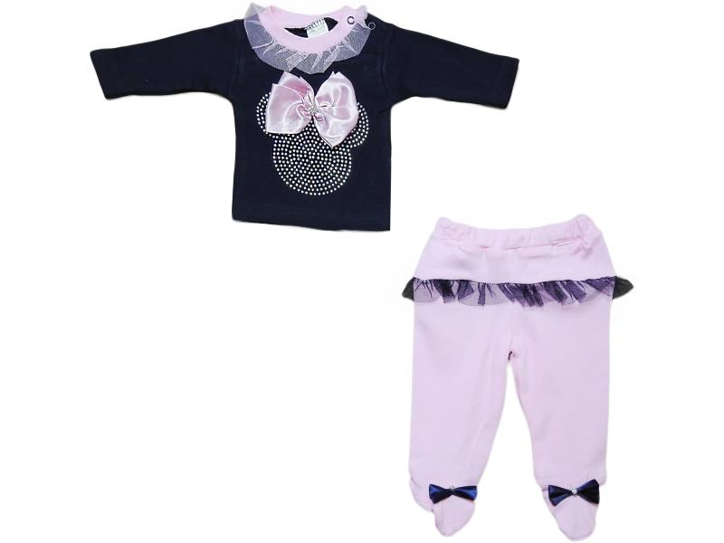 1004 Wholesale decorative rock embroidery top with trouser set for girl baby clothes (3-6-9 month)