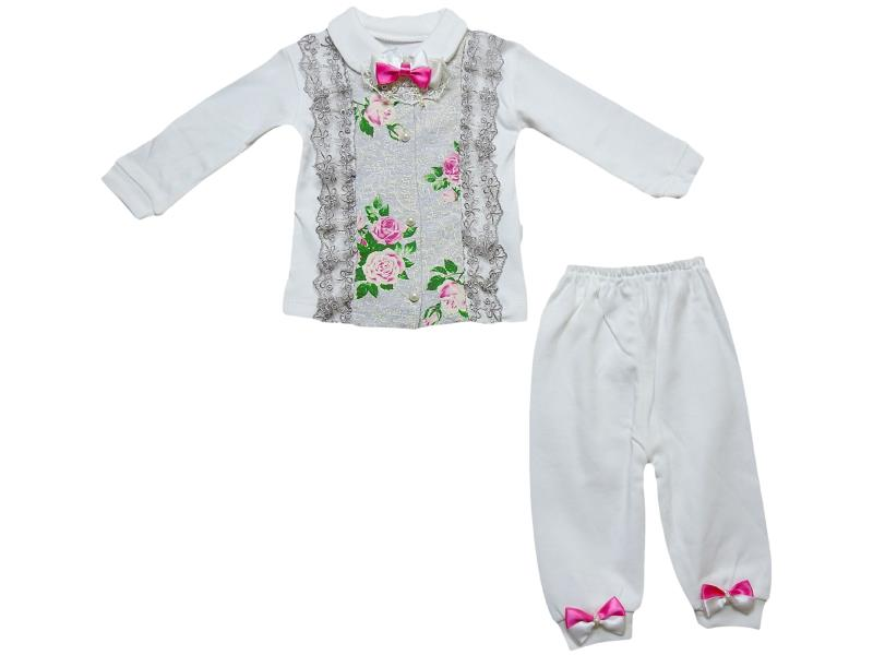 418 rose embroidered for girls babies set 3-6-9 month