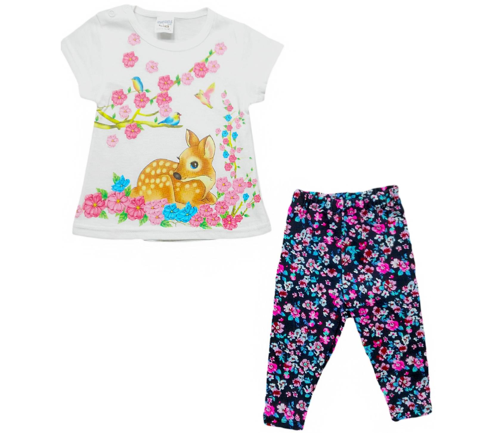 301 Wholesale gazelle printed design t shirt and trouser set for