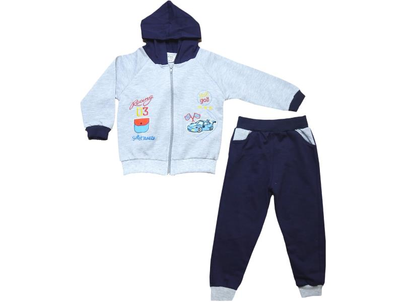 2 Wholesale racing printed cardigan with trouser set for boy kids clothes (1-2-3 age)