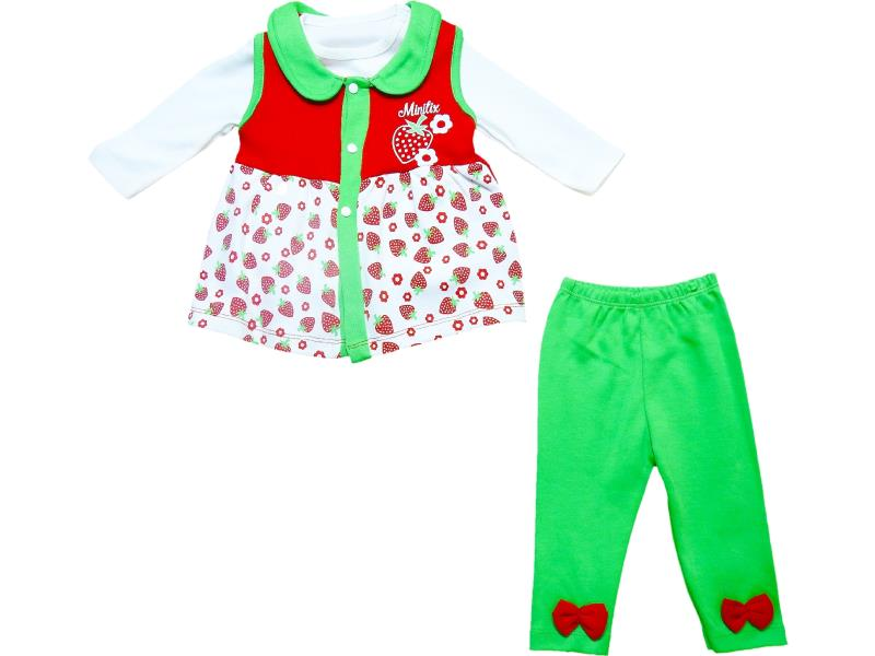 1784 Wholesale strawberry printed cardigan, t-shirt and trouser set for girls (6-9-12 month)