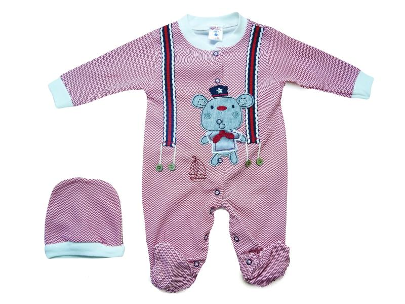 976 Wholesale mouse printed romper with beanie set for boy baby clothes (3-6-9-12 month)