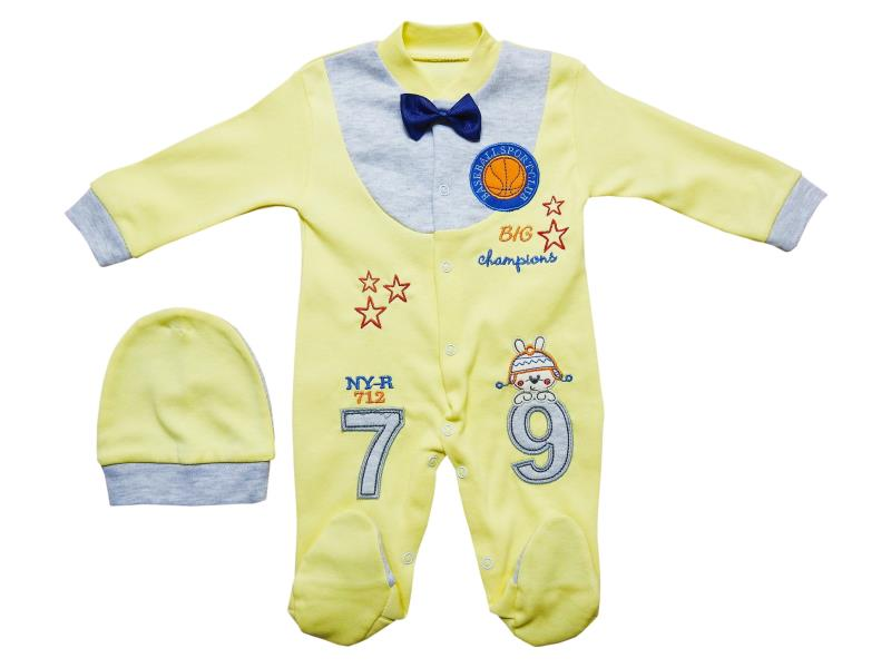 5126 Wholesale 79 printed romper with beanie set for boy kids clothes (0-3-6 month)