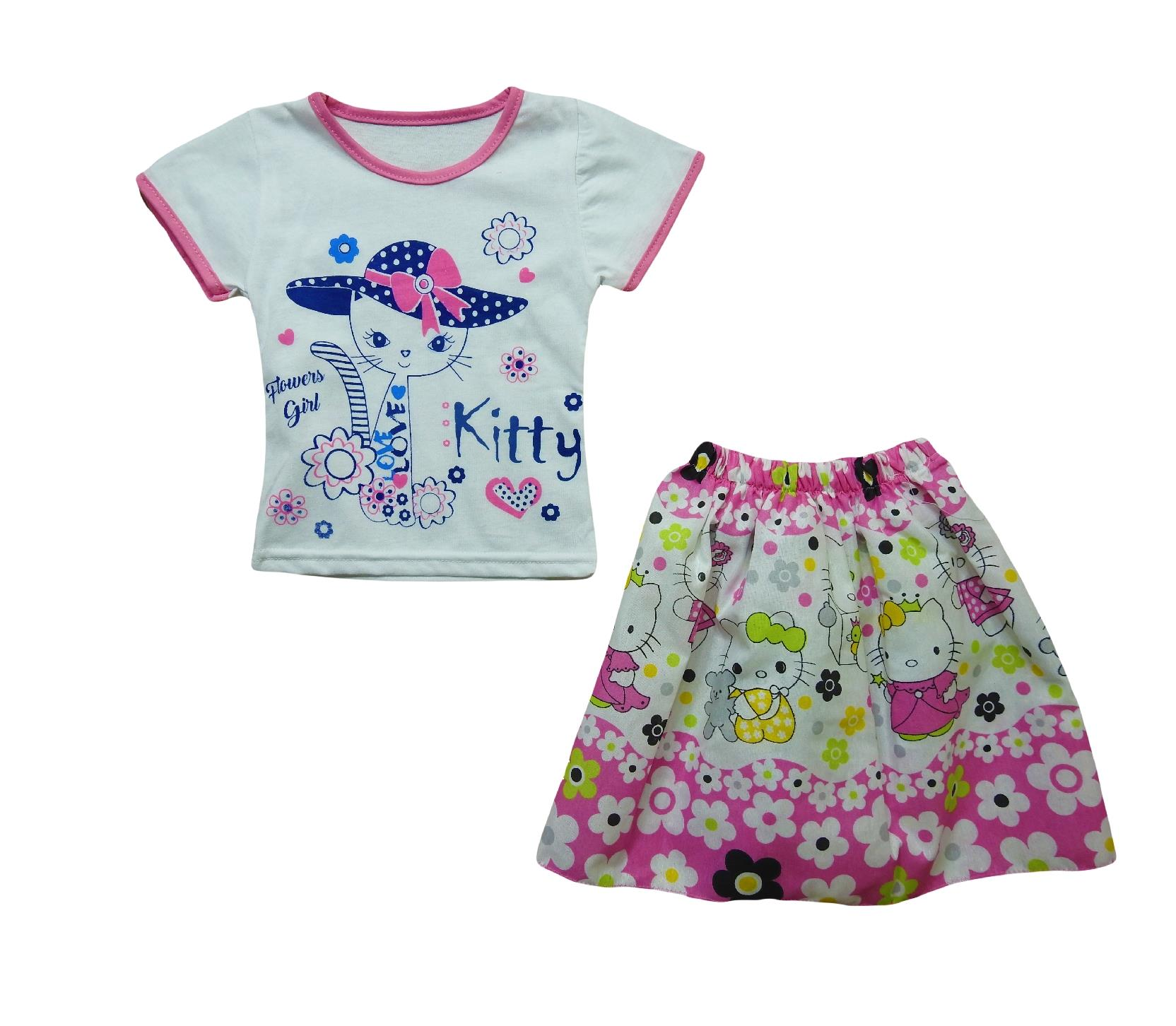 306 Wholesale kitty printed t shirt with skirt for girl baby clothes