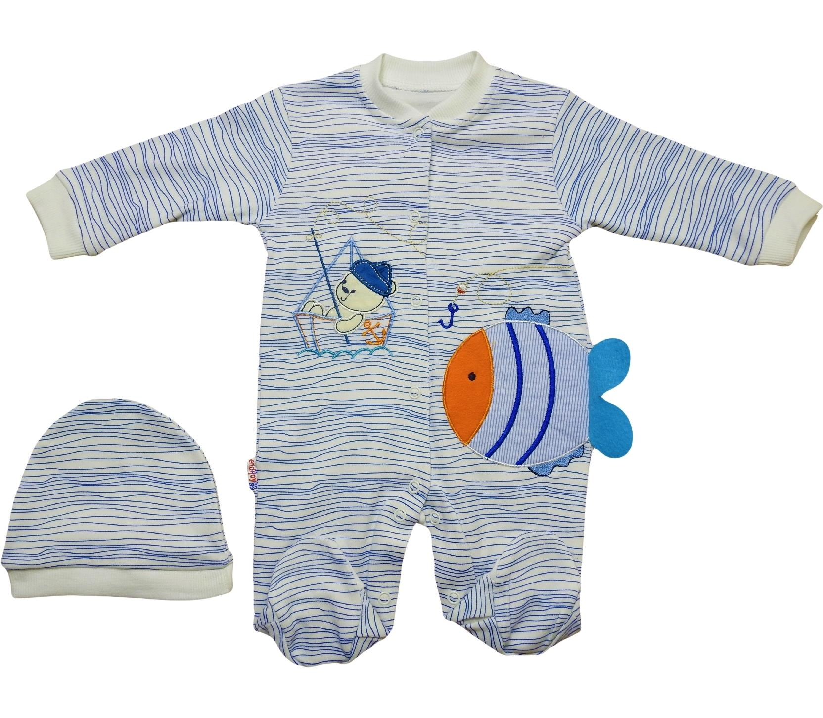 1012 Wholesale fish applique striped design romper with beanie for