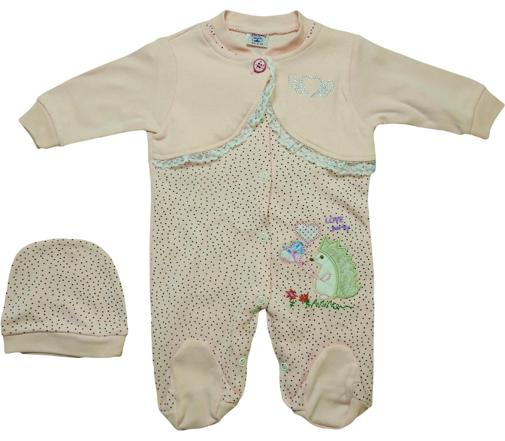 985 Wholesale porky printed spotty romper with beanie for girl baby