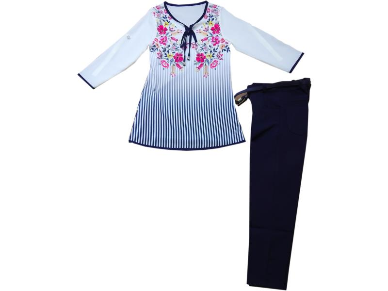 8029 Wholesale flowery embroidery blouse with pant set for girl kids clothes (5-6-7-8 age)